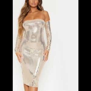Gold Mirrored Sequin Bardot Midi Dress